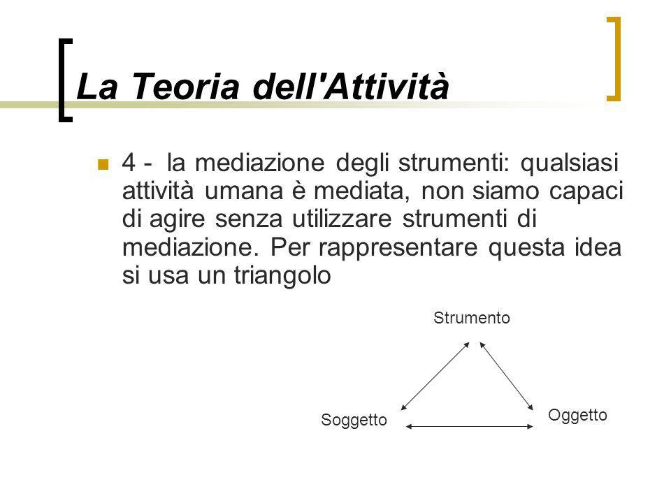 La Teoria dell'Attività 4 - la mediazione degli strumenti: qualsiasi attività umana è mediata, non siamo capaci di agire senza utilizzare strumenti di