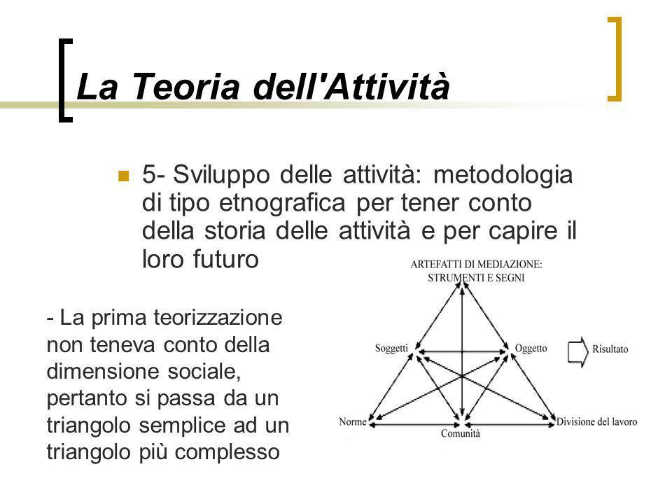 La Teoria dell'Attività 5- Sviluppo delle attività: metodologia di tipo etnografica per tener conto della storia delle attività e per capire il loro f