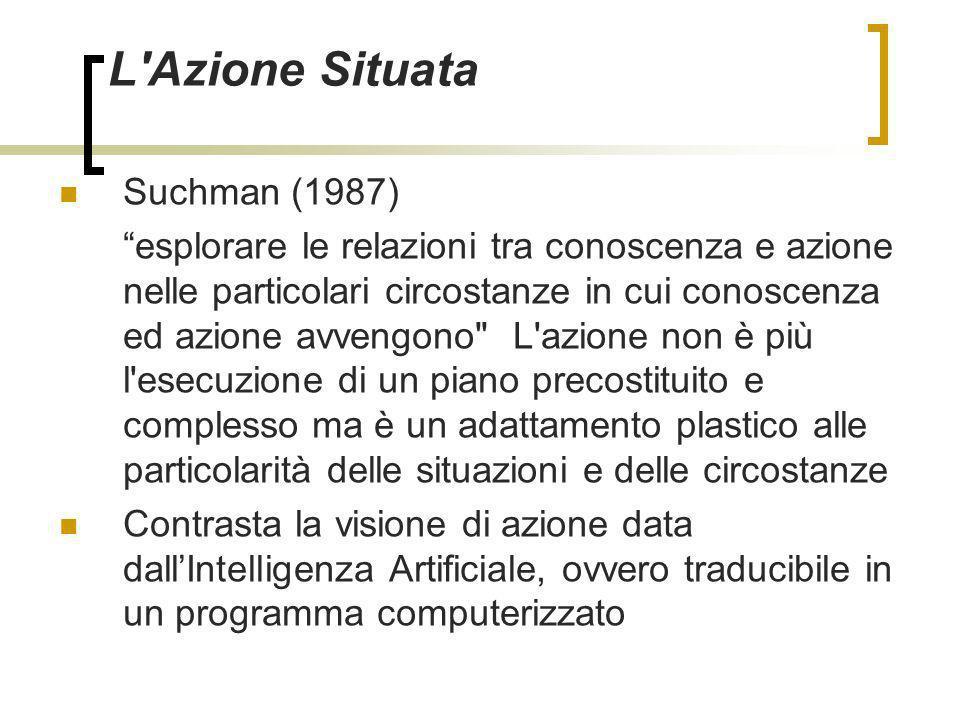 L'Azione Situata Suchman (1987) esplorare le relazioni tra conoscenza e azione nelle particolari circostanze in cui conoscenza ed azione avvengono