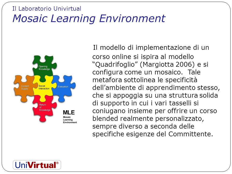 Il modello di implementazione di un corso online si ispira al modello Quadrifoglio (Margiotta 2006) e si configura come un mosaico. Tale metafora sott
