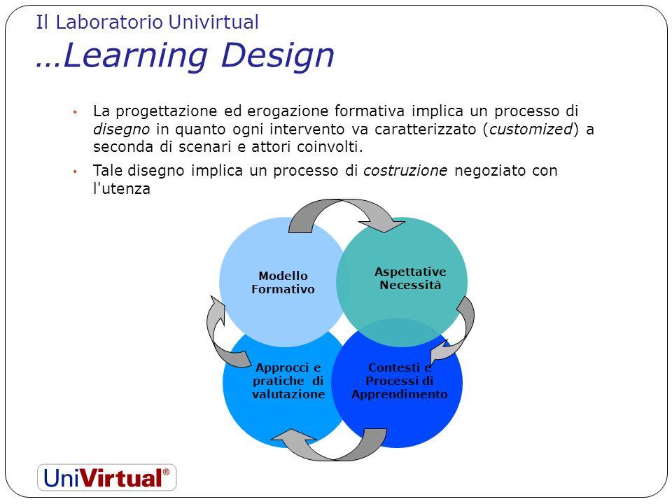 La progettazione ed erogazione formativa implica un processo di disegno in quanto ogni intervento va caratterizzato (customized) a seconda di scenari