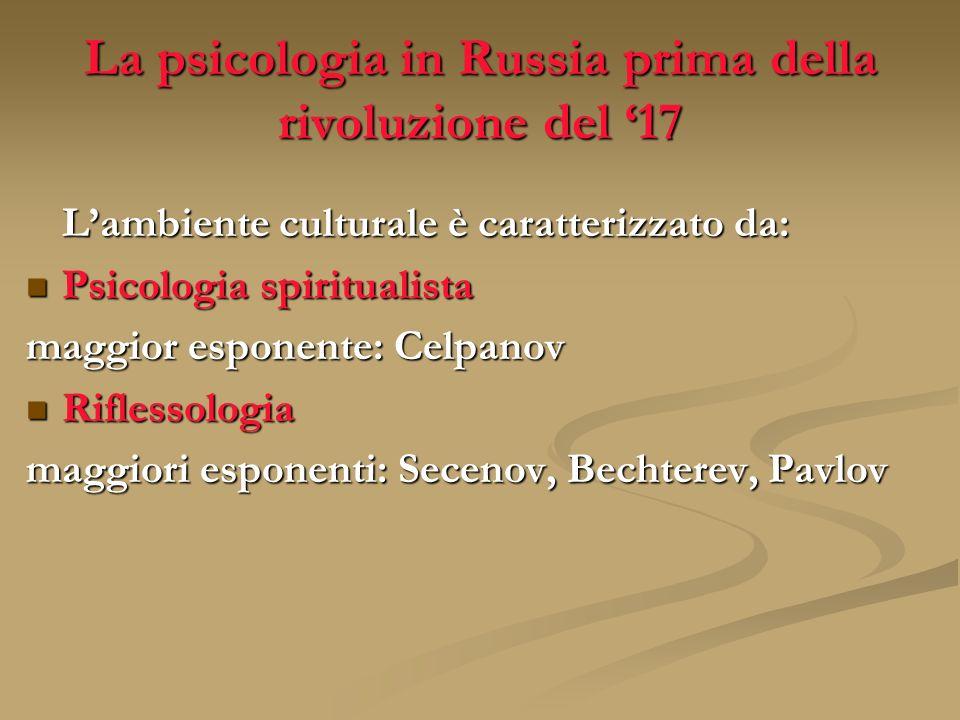 La psicologia in Russia prima della rivoluzione del 17 Lambiente culturale è caratterizzato da: Psicologia spiritualista Psicologia spiritualista magg