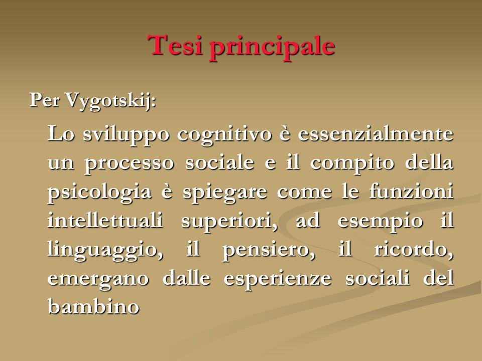 Tesi principale Per Vygotskij: Lo sviluppo cognitivo è essenzialmente un processo sociale e il compito della psicologia è spiegare come le funzioni in