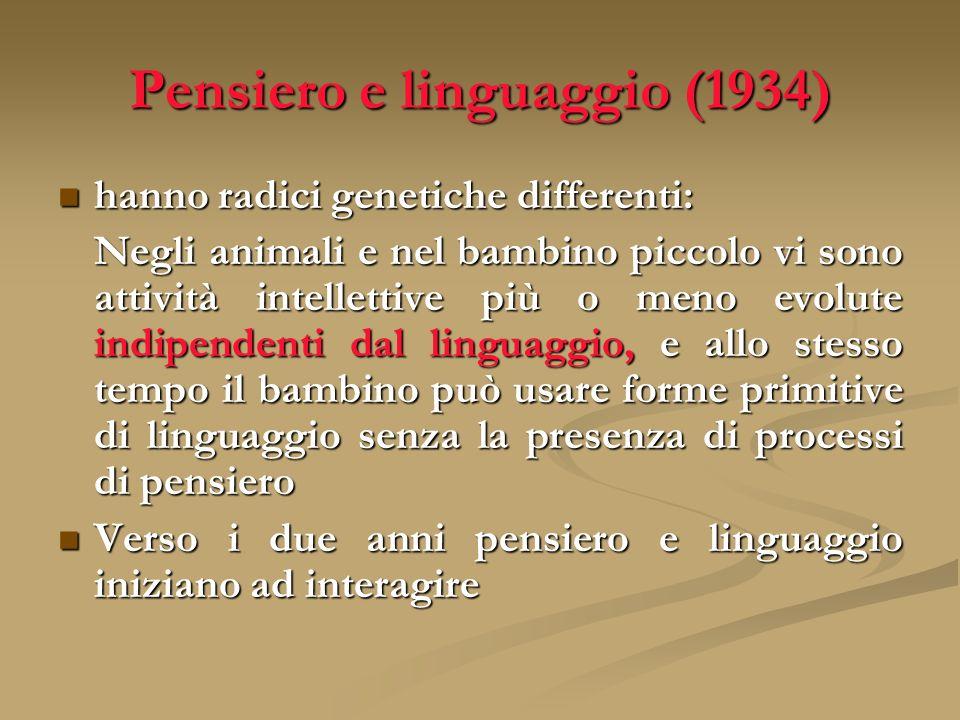 Pensiero e linguaggio (1934) hanno radici genetiche differenti: hanno radici genetiche differenti: Negli animali e nel bambino piccolo vi sono attivit