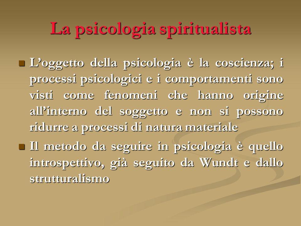 La psicologia spiritualista Loggetto della psicologia è la coscienza; i processi psicologici e i comportamenti sono visti come fenomeni che hanno orig
