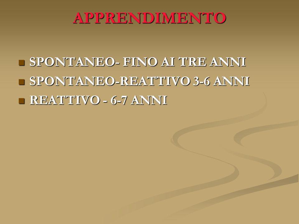 APPRENDIMENTO SPONTANEO- FINO AI TRE ANNI SPONTANEO- FINO AI TRE ANNI SPONTANEO-REATTIVO 3-6 ANNI SPONTANEO-REATTIVO 3-6 ANNI REATTIVO - 6-7 ANNI REAT
