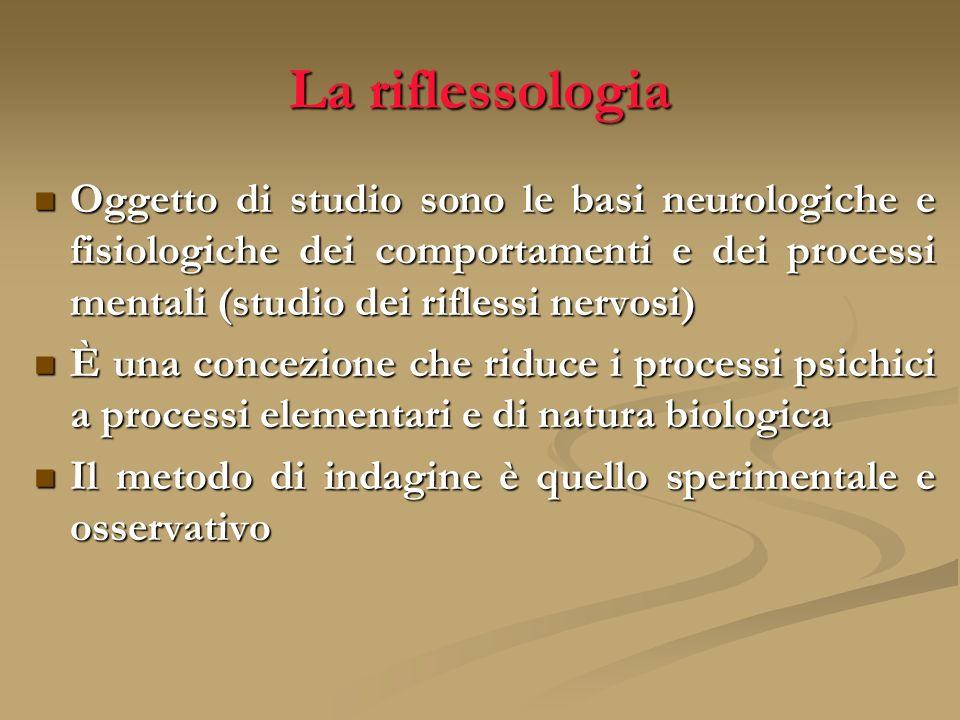 La riflessologia Oggetto di studio sono le basi neurologiche e fisiologiche dei comportamenti e dei processi mentali (studio dei riflessi nervosi) Ogg