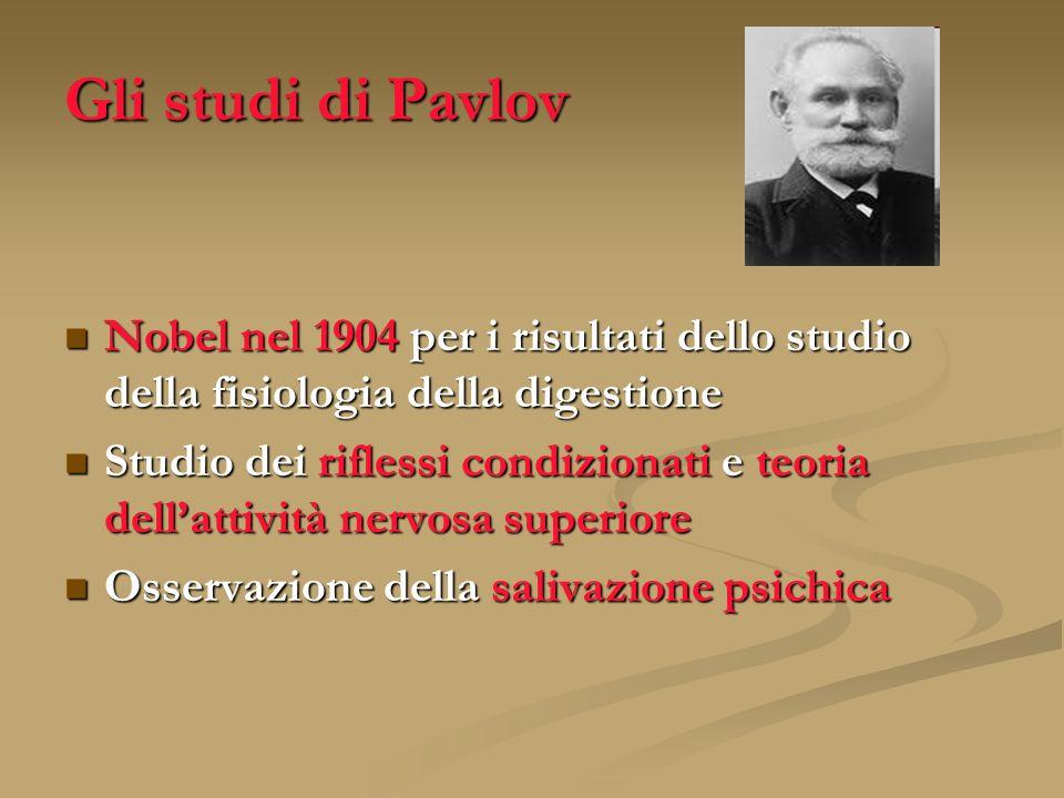 Gli studi di Pavlov Nobel nel 1904 per i risultati dello studio della fisiologia della digestione Nobel nel 1904 per i risultati dello studio della fi