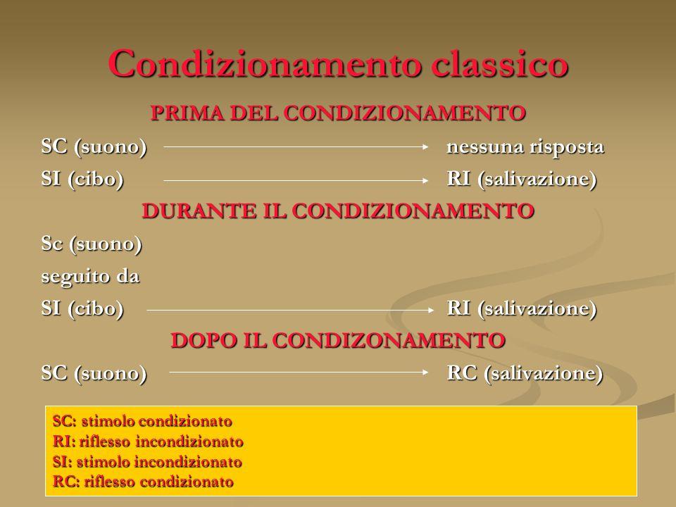 Condizionamento classico PRIMA DEL CONDIZIONAMENTO SC (suono)nessuna risposta SI (cibo)RI (salivazione) DURANTE IL CONDIZIONAMENTO Sc (suono) seguito