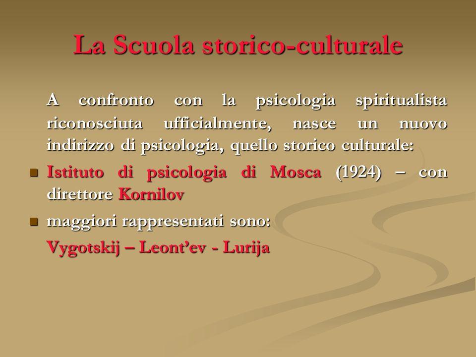 La Scuola storico-culturale A confronto con la psicologia spiritualista riconosciuta ufficialmente, nasce un nuovo indirizzo di psicologia, quello sto