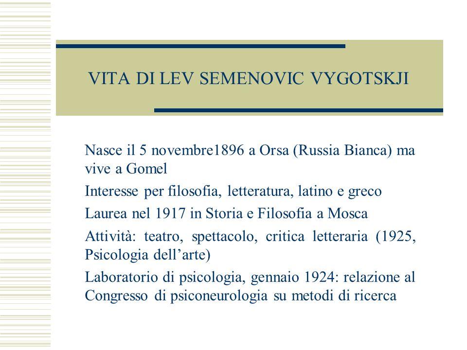 VITA DI LEV SEMENOVIC VYGOTSKJI Nasce il 5 novembre1896 a Orsa (Russia Bianca) ma vive a Gomel Interesse per filosofia, letteratura, latino e greco La