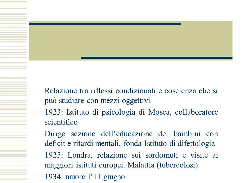 Relazione tra riflessi condizionati e coscienza che si può studiare con mezzi oggettivi 1923: Istituto di psicologia di Mosca, collaboratore scientifi