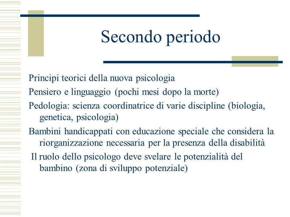 Secondo periodo Principi teorici della nuova psicologia Pensiero e linguaggio (pochi mesi dopo la morte) Pedologia: scienza coordinatrice di varie dis