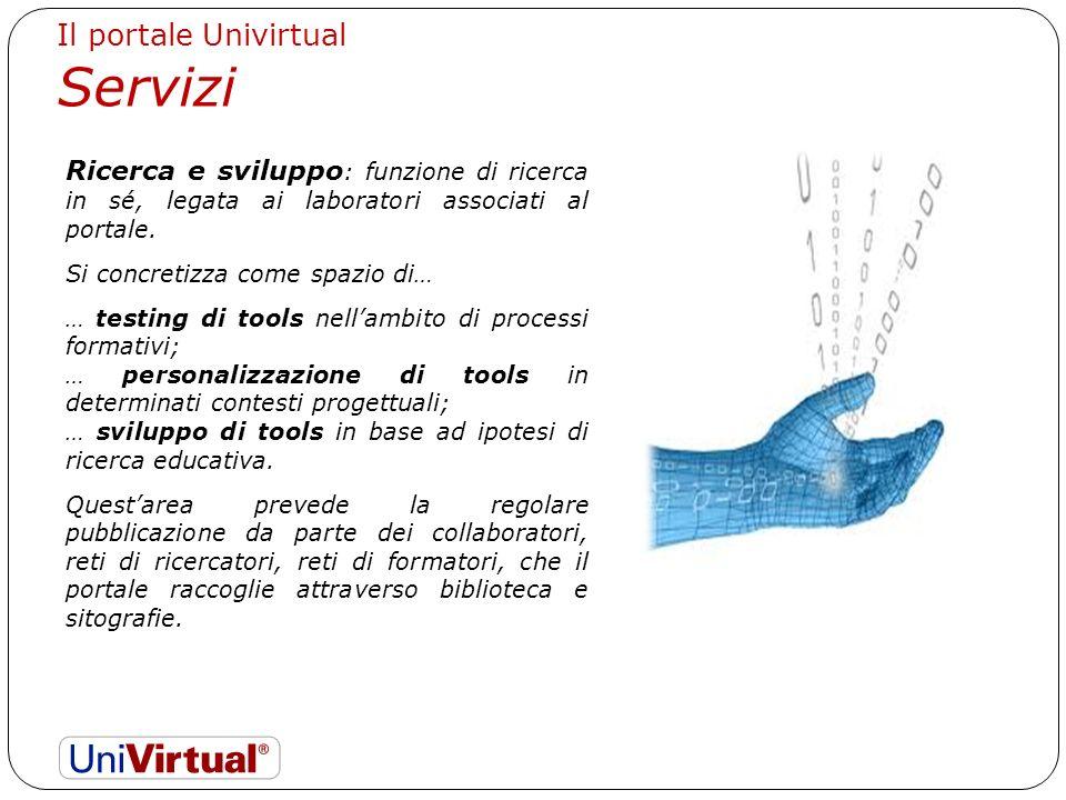 Il portale Univirtual Servizi Ricerca e sviluppo : funzione di ricerca in sé, legata ai laboratori associati al portale.