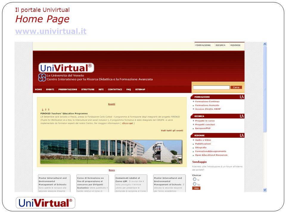 Il portale Univirtual Home Page www.univirtual.it