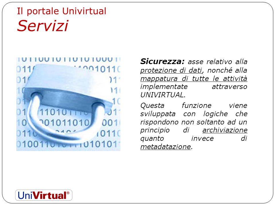 Sicurezza: asse relativo alla protezione di dati, nonché alla mappatura di tutte le attività implementate attraverso UNIVIRTUAL.