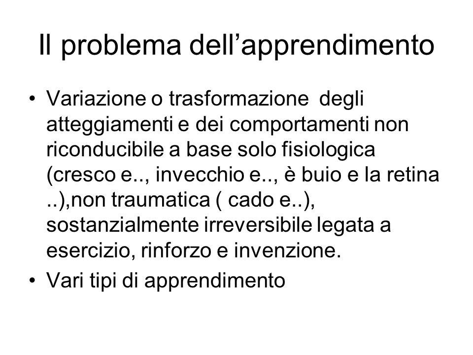 Il problema dellapprendimento Variazione o trasformazione degli atteggiamenti e dei comportamenti non riconducibile a base solo fisiologica (cresco e.