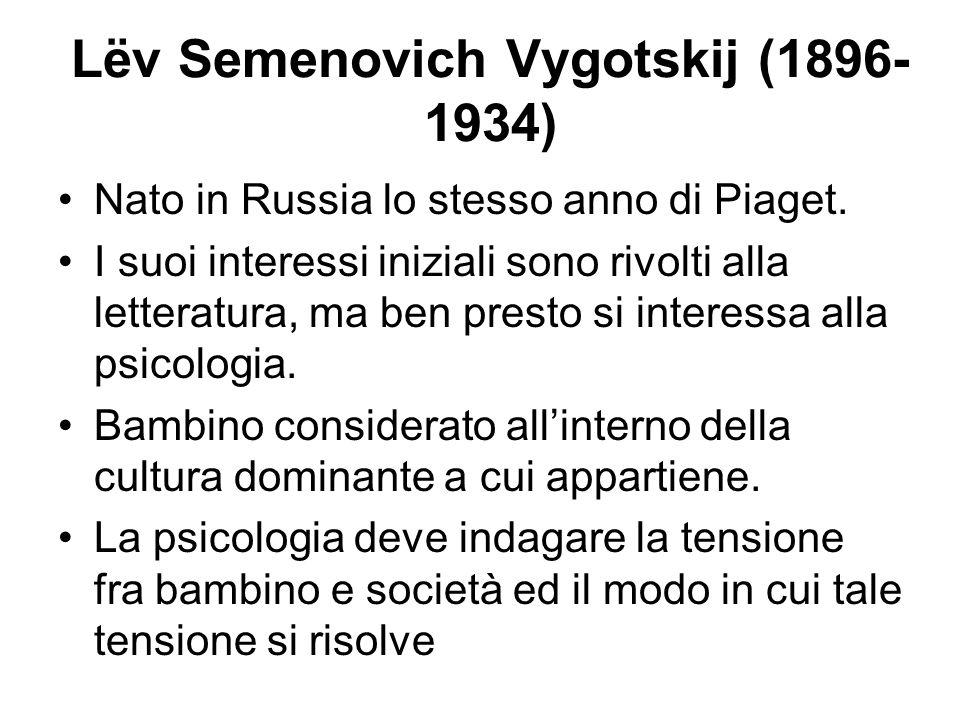 Lëv Semenovich Vygotskij (1896- 1934) Nato in Russia lo stesso anno di Piaget. I suoi interessi iniziali sono rivolti alla letteratura, ma ben presto