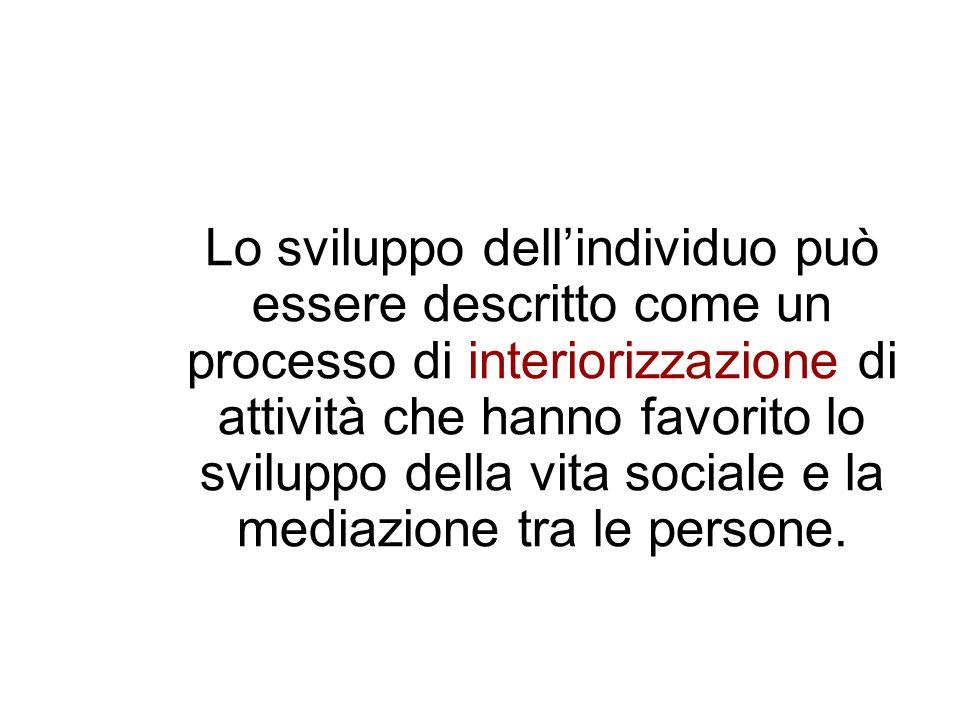 Lo sviluppo dellindividuo può essere descritto come un processo di interiorizzazione di attività che hanno favorito lo sviluppo della vita sociale e l