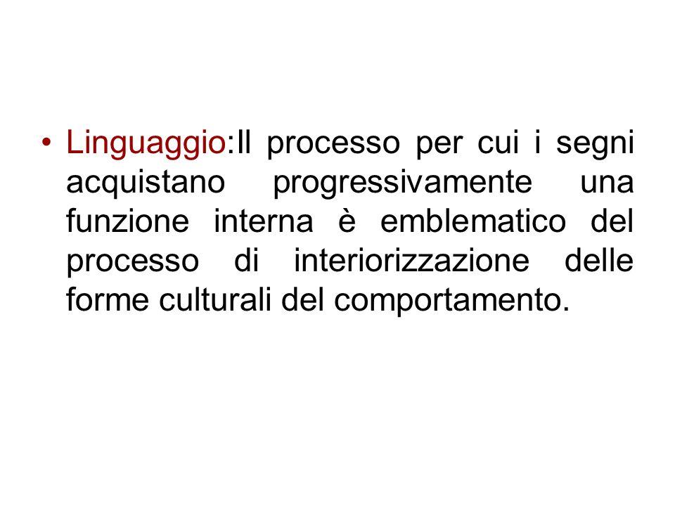 Linguaggio:Il processo per cui i segni acquistano progressivamente una funzione interna è emblematico del processo di interiorizzazione delle forme cu