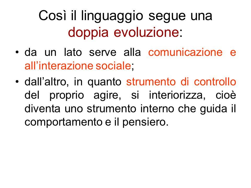 Così il linguaggio segue una doppia evoluzione: da un lato serve alla comunicazione e allinterazione sociale; dallaltro, in quanto strumento di contro