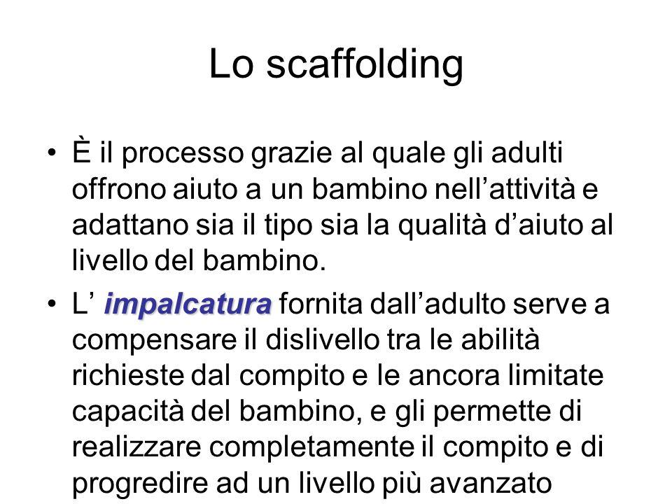 Lo scaffolding È il processo grazie al quale gli adulti offrono aiuto a un bambino nellattività e adattano sia il tipo sia la qualità daiuto al livell