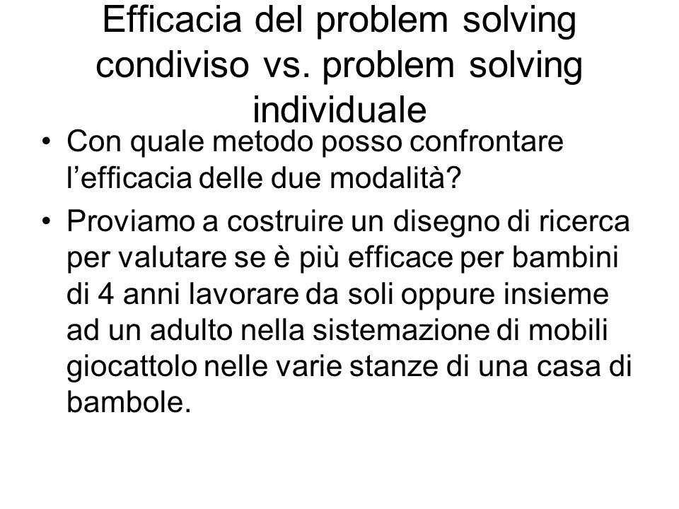 Efficacia del problem solving condiviso vs. problem solving individuale Con quale metodo posso confrontare lefficacia delle due modalità? Proviamo a c