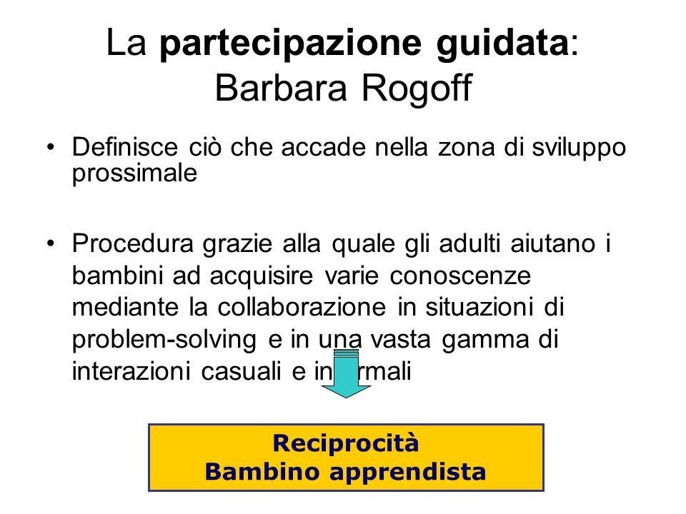 La partecipazione guidata: Barbara Rogoff Definisce ciò che accade nella zona di sviluppo prossimale Procedura grazie alla quale gli adulti aiutano i