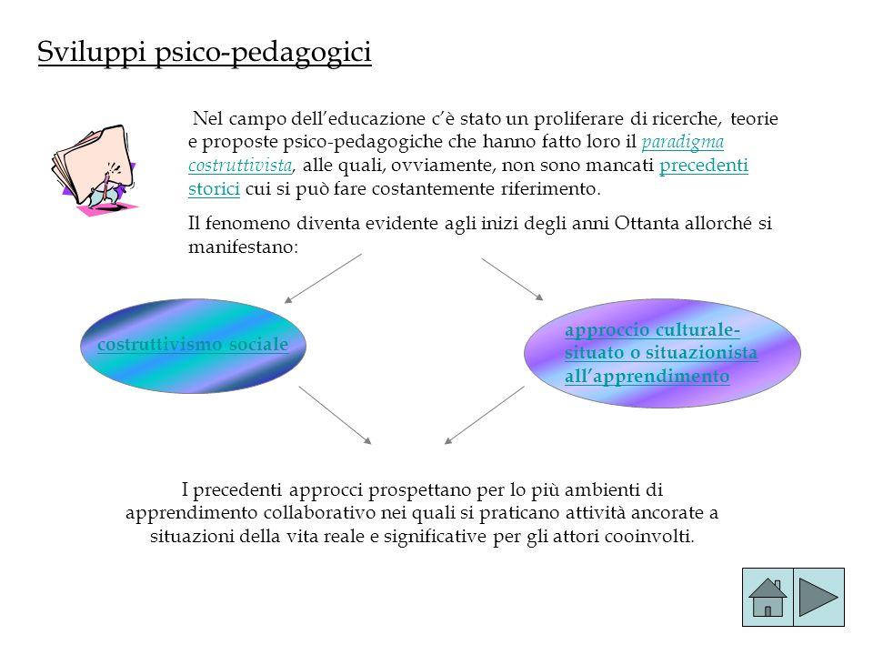Sviluppi psico-pedagogici Nel campo delleducazione cè stato un proliferare di ricerche, teorie e proposte psico-pedagogiche che hanno fatto loro il pa