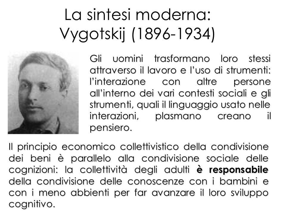 La sintesi moderna: Vygotskij (1896-1934) Gli uomini trasformano loro stessi attraverso il lavoro e luso di strumenti: linterazione con altre persone