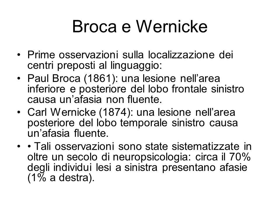 Broca e Wernicke Prime osservazioni sulla localizzazione dei centri preposti al linguaggio: Paul Broca (1861): una lesione nellarea inferiore e poster