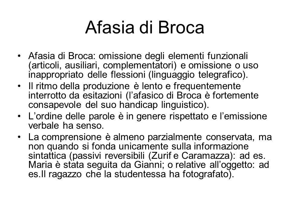 Afasia di Broca Afasia di Broca: omissione degli elementi funzionali (articoli, ausiliari, complementatori) e omissione o uso inappropriato delle fles