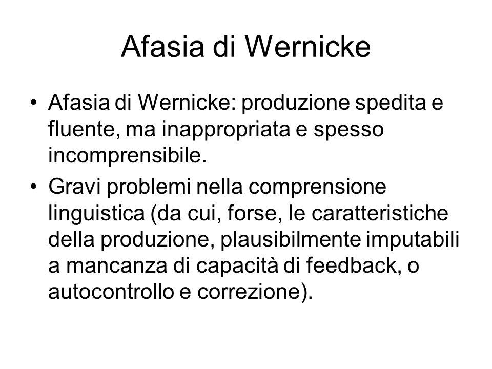 Afasia di Wernicke Afasia di Wernicke: produzione spedita e fluente, ma inappropriata e spesso incomprensibile. Gravi problemi nella comprensione ling