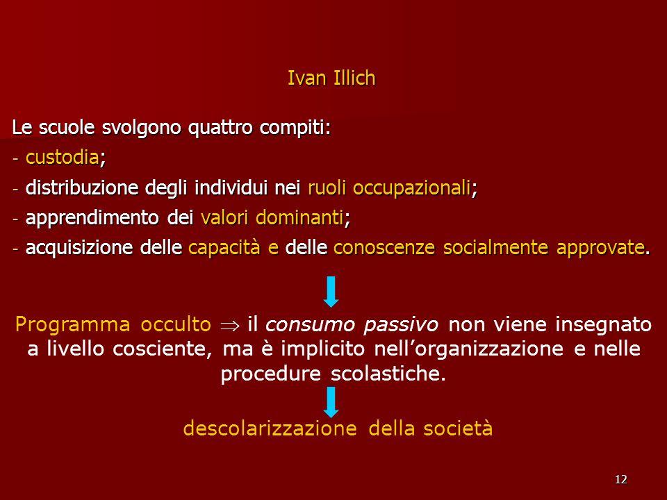12 Ivan Illich Le scuole svolgono quattro compiti: - custodia; - distribuzione degli individui nei ruoli occupazionali; - apprendimento dei valori dom