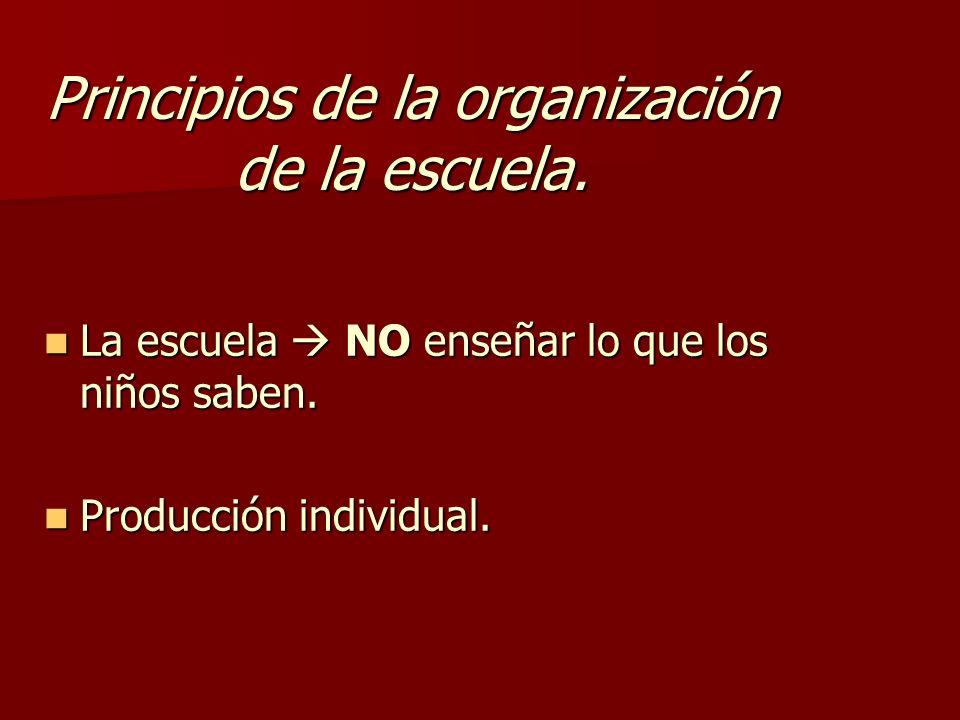 Principios de la organización de la escuela. La escuela NO enseñar lo que los niños saben. La escuela NO enseñar lo que los niños saben. Producción in