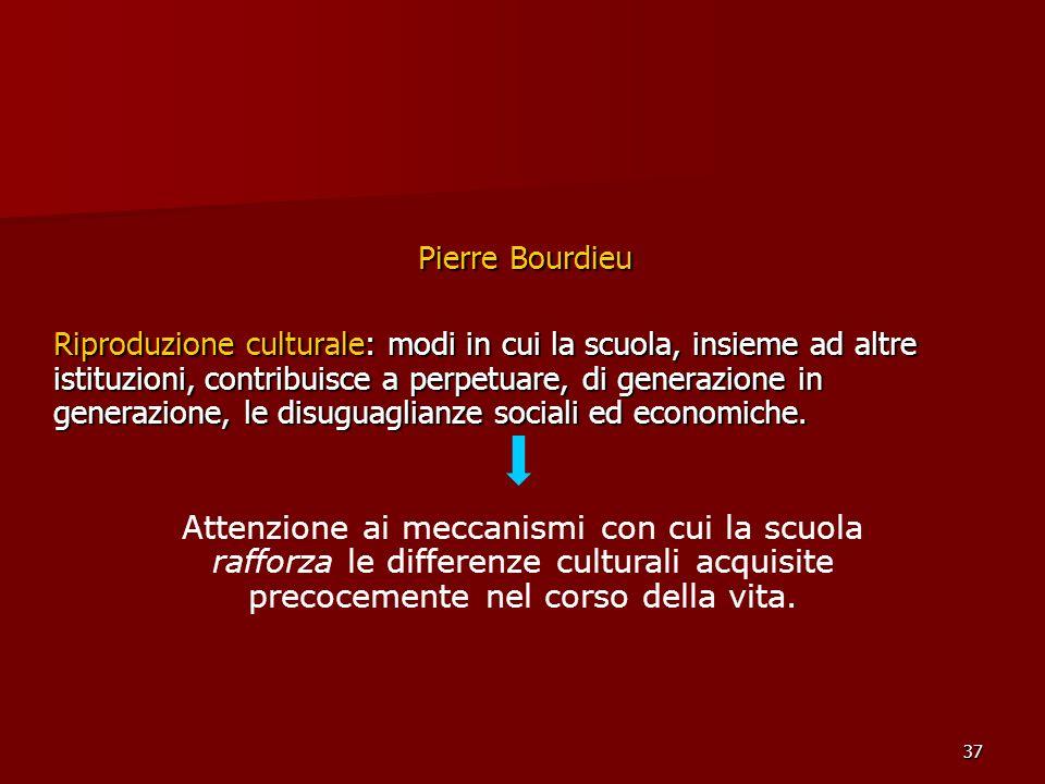 37 Pierre Bourdieu Riproduzione culturale: modi in cui la scuola, insieme ad altre istituzioni, contribuisce a perpetuare, di generazione in generazio