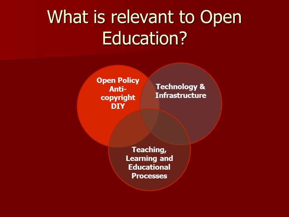 What is relevant to Open Education? Open Policy Anti- copyright DIY Technology & Infrastructure Teaching, Learning and Educational Processes