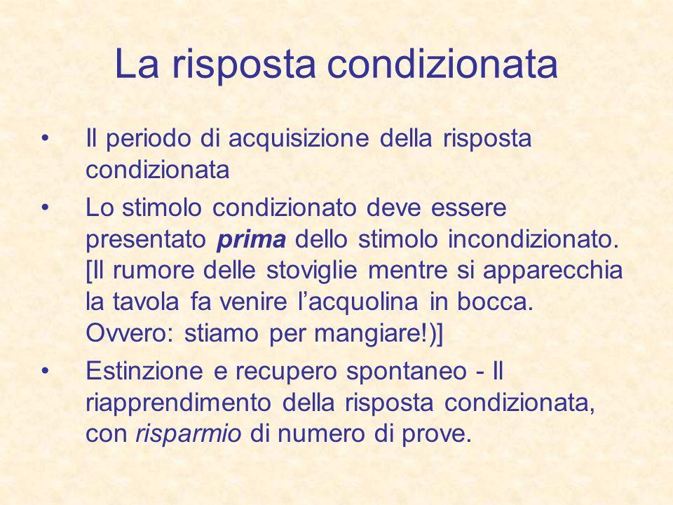 La risposta condizionata Il periodo di acquisizione della risposta condizionata Lo stimolo condizionato deve essere presentato prima dello stimolo inc