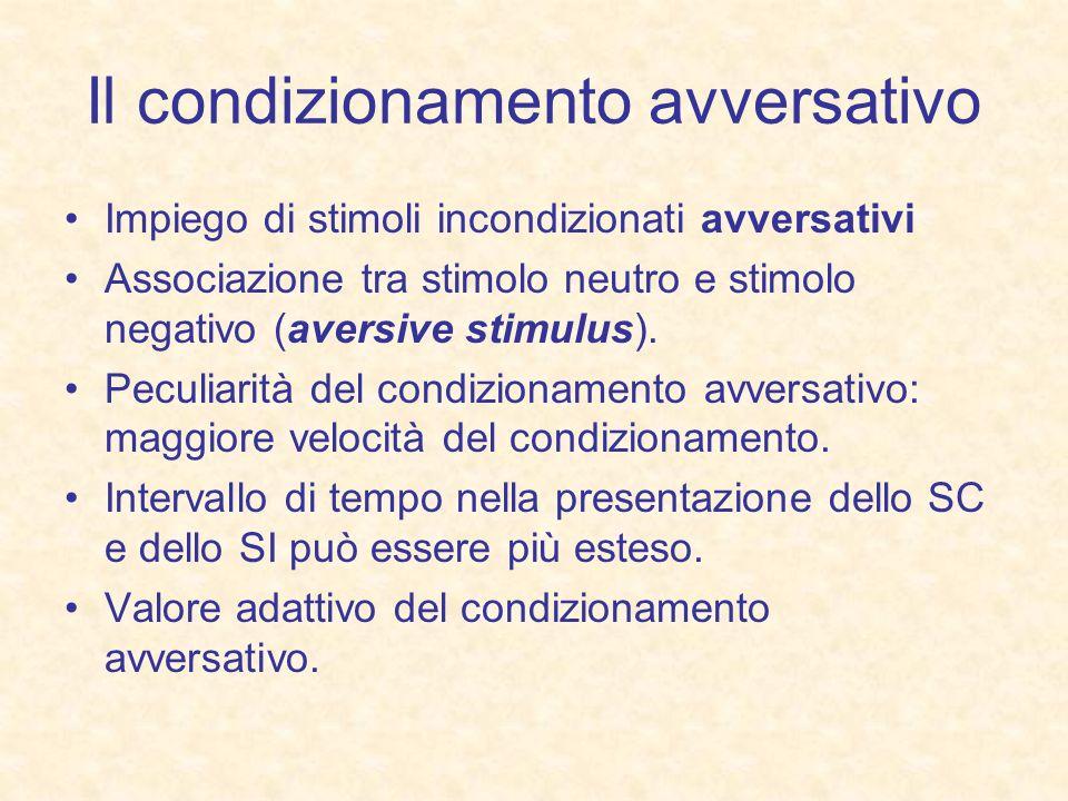 Il condizionamento avversativo Impiego di stimoli incondizionati avversativi Associazione tra stimolo neutro e stimolo negativo (aversive stimulus). P
