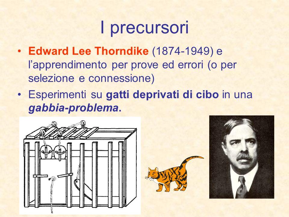 I precursori Edward Lee Thorndike (1874-1949) e lapprendimento per prove ed errori (o per selezione e connessione) Esperimenti su gatti deprivati di c