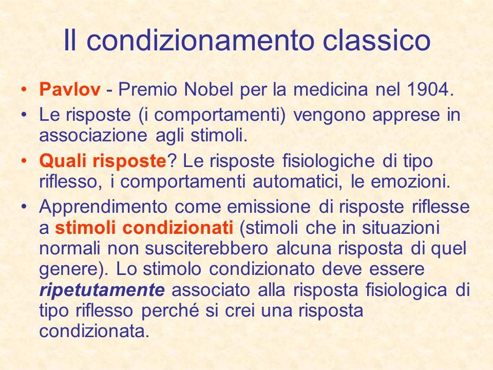 Il condizionamento classico Pavlov - Premio Nobel per la medicina nel 1904. Le risposte (i comportamenti) vengono apprese in associazione agli stimoli
