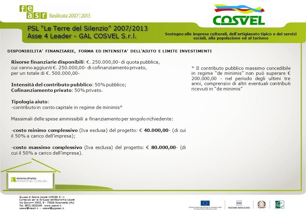 Risorse finanziarie disponibili:. 250.000,00- di quota pubblica, cui vanno aggiunti. 250.000,00- di cofinanziamento privato, per un totale di. 500.000