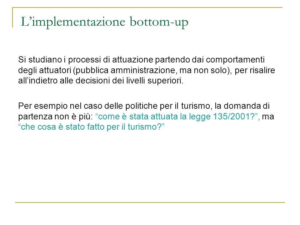 Limplementazione bottom-up Si studiano i processi di attuazione partendo dai comportamenti degli attuatori (pubblica amministrazione, ma non solo), pe