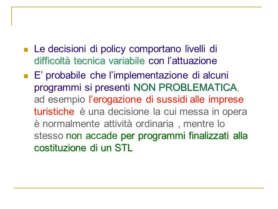 NATURA DEL PROBLEMA difficoltà tecnica variabile Le decisioni di policy comportano livelli di difficoltà tecnica variabile con lattuazione NON PROBLEM