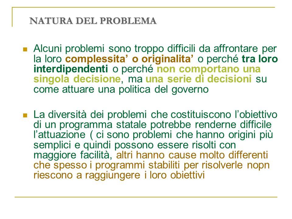 NATURA DEL PROBLEMA Alcuni problemi sono troppo difficili da affrontare per la loro complessita o originalita o perché tra loro interdipendenti o perc