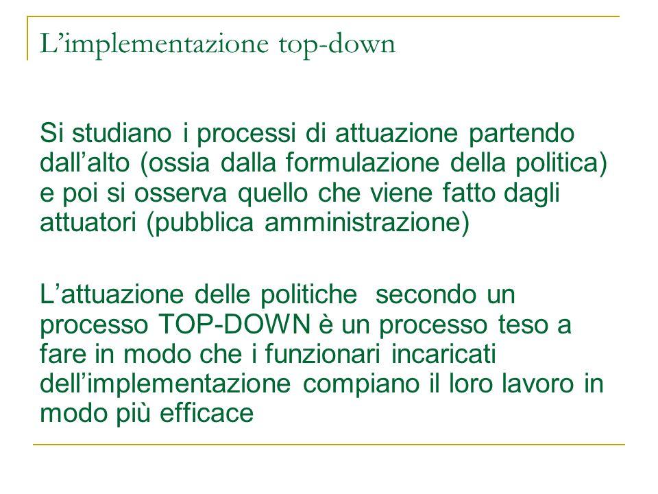 Lapproccio top-down Sul piano descrittivo (che cosa è successo): rischia di sovrastimare la forza di legge e la gerarchia.