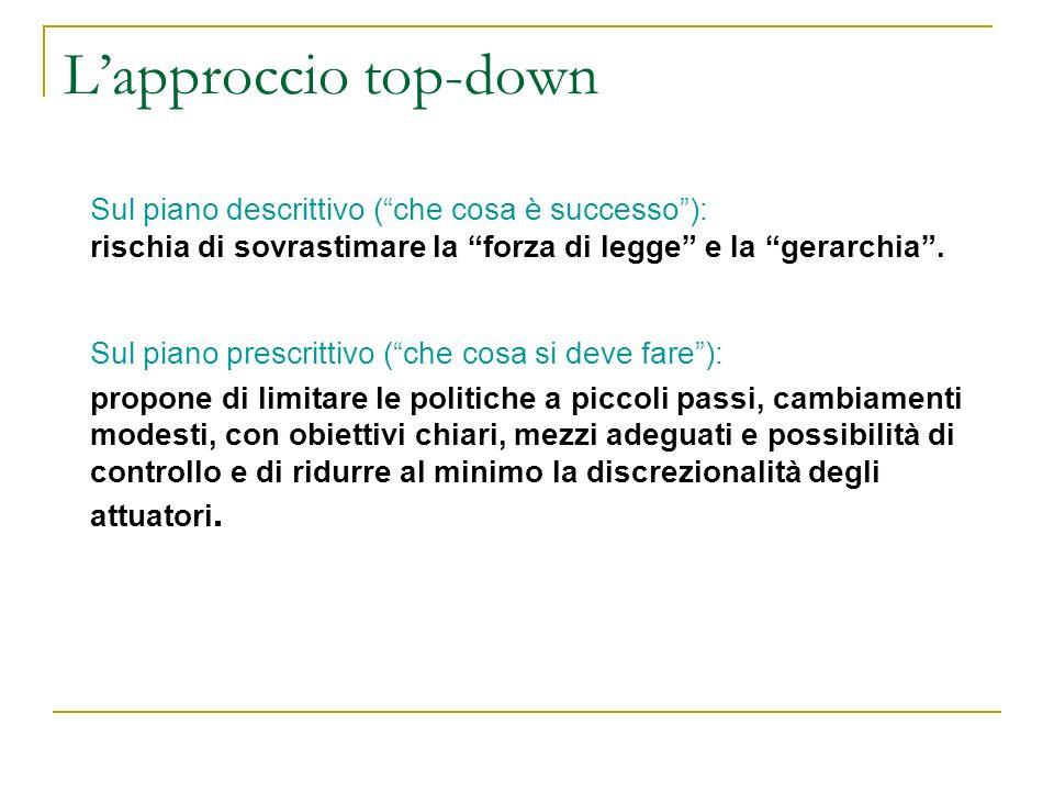 Lapproccio top-down Sul piano descrittivo (che cosa è successo): rischia di sovrastimare la forza di legge e la gerarchia. Sul piano prescrittivo (che