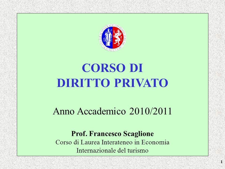 1 CORSO DI DIRITTO PRIVATO Anno Accademico 2010/2011 Prof. Francesco Scaglione Corso di Laurea Interateneo in Economia Internazionale del turismo
