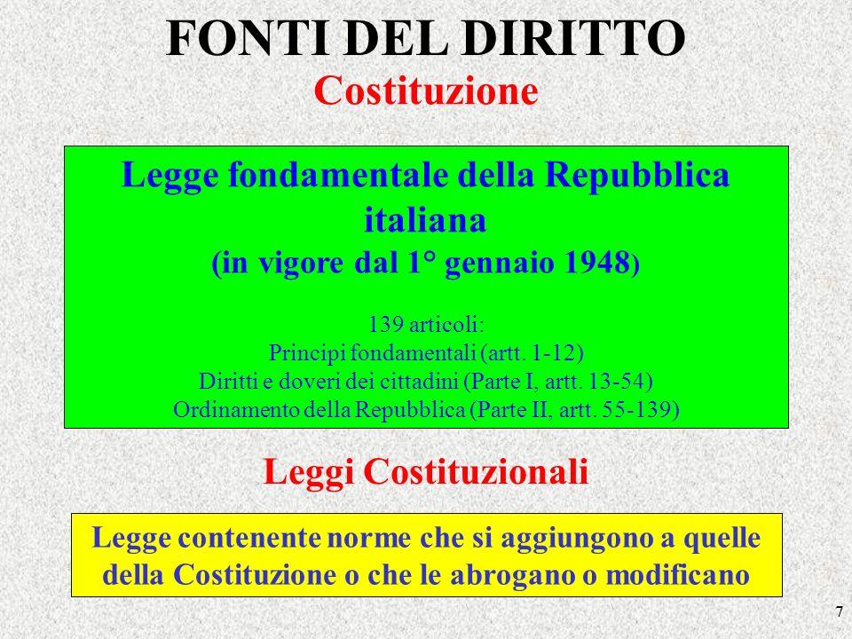 7 FONTI DEL DIRITTO Legge fondamentale della Repubblica italiana (in vigore dal 1° gennaio 1948 ) 139 articoli: Principi fondamentali (artt. 1-12) Dir