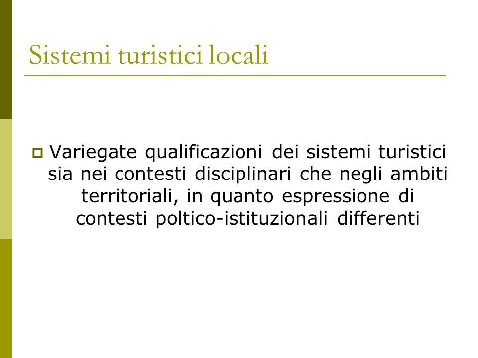 Sistemi turistici locali Variegate qualificazioni dei sistemi turistici sia nei contesti disciplinari che negli ambiti territoriali, in quanto espressione di contesti poltico-istituzionali differenti